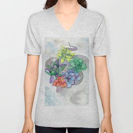 serpent and succulents Unisex V-Neck