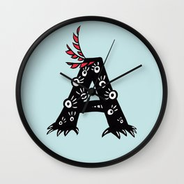Letter A Funny Character Drawing Wall Clock