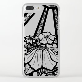 Black and White Flowers In The Sun Clear iPhone Case