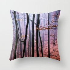 Foggy fall forest photography Throw Pillow
