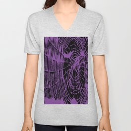 Intricate Halloween Spider Web Purple Palette Unisex V-Neck