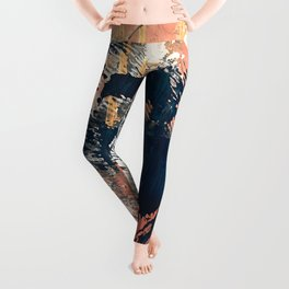 Hidden Gem [1]: an abstract mixed media piece in pink, blue, gold and white Leggings