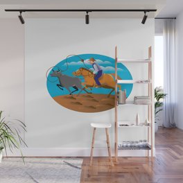 Rodeo Cowboy Lasso Cow Wall Mural