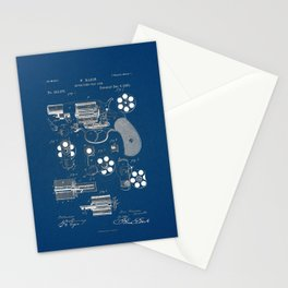 Revolver blue Patent Stationery Cards