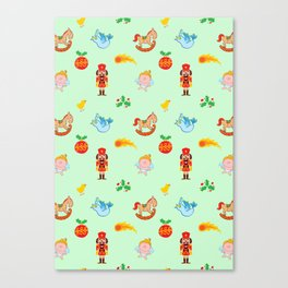 Nutcracker, rocking horse, angel and bird Christmas pattern Canvas Print