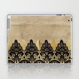 Elegance- Ornament black and gold lace on grunge paper backround Laptop & iPad Skin