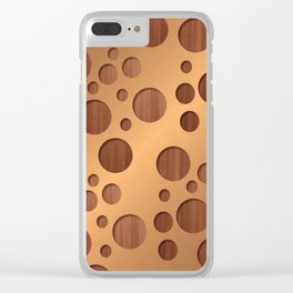 Copper Metal With Circle Wood Cut Outs Digital Art Clear iPhone Case