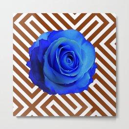 CONTEMPORARY  DECO  BLUE ROSE & BROWN ART Metal Print