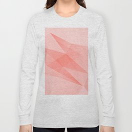 Pantone Living Coral Color of the Year 2019 on Abstract Geometric Shape Pattern Long Sleeve T-shirt