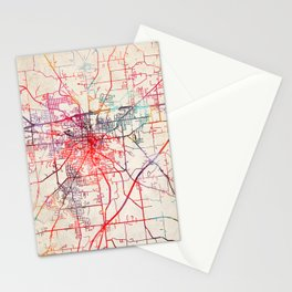 Mansfield map Ohio OH Stationery Cards