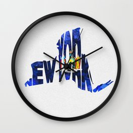 New York Typographic Flag Map Art Wall Clock