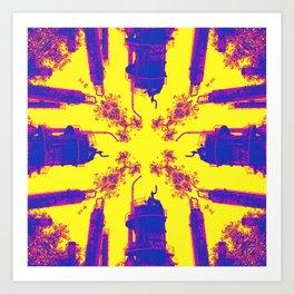 Oil is Over Series; Yellow Lavender Industrial Haze Art Print