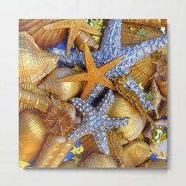 Gold and Silver Starfish Metal Print