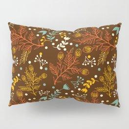 Elegant fall orange yellow teal brown floral polka dots Pillow Sham