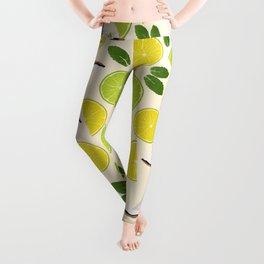 Lime Lemon Coconut Mint pattern Leggings