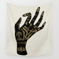 occult Wall Tapestries featuring Palmistry by Cat Coquillette