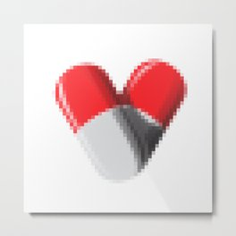Pixelate Pills Heart Metal Print