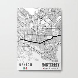 Monterrey, MEXICO Road Map Art - Earth Tones Metal Print