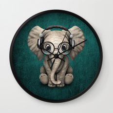 Cute Baby Elephant Dj Wearing Headphones and Glasses on Blue Wall Clock