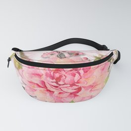 Pink Watercolor Dahlia Blossom Fanny Pack