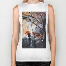 Autumn rain - watercolor Biker Tank