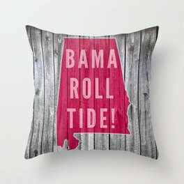 Bama Roll Tide Wood Print Gifts Throw Pillow