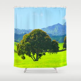 green tree in the green field with green mountain and blue sky background Shower Curtain