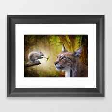 Canadian Lnx and Squirrel Framed Art Print