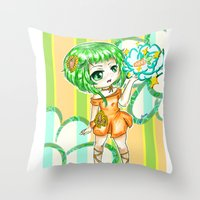 vocaloid Throw Pillows featuring Gumi CHIBI FANART  by jannaj