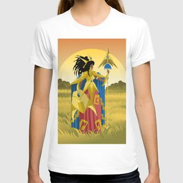 powerful armored woman warrior with spear T-shirt