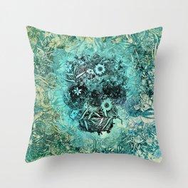 Floral Skull Blue Throw Pillow