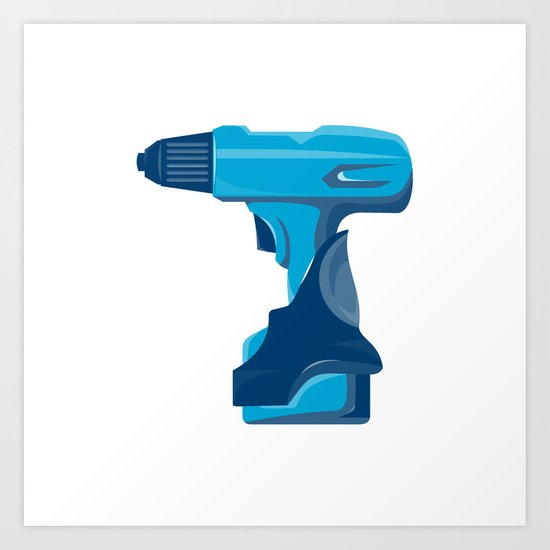 cordless drill side view retro Art Print