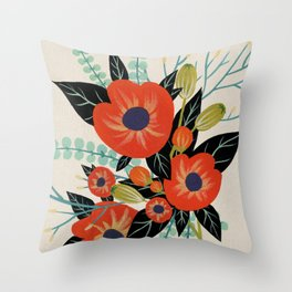 Red Poppies - Ivory Throw Pillow