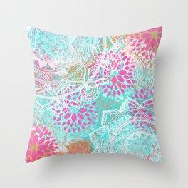 Mixed Media Indian Mandala Throw Pillow