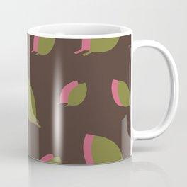 Green pink leaves on brown Coffee Mug
