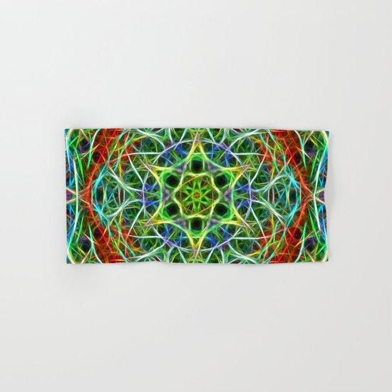 Feathered texture mandala in green and brown Hand & Bath Towel