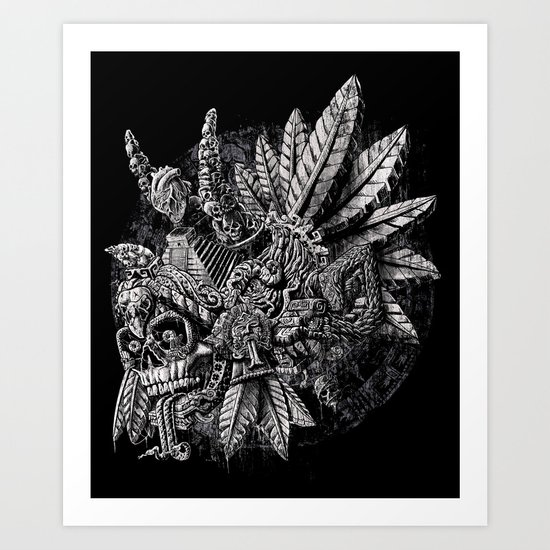 Aztec Great Lizard Warrior 1 (Triceratops) Art Print