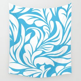 Sky Blue Flourishes Wall Tapestry