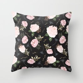 Floral Blossom - Black Backgroud Throw Pillow