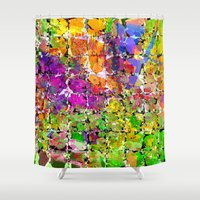 buzz lightyear Shower Curtains featuring Color Buzz by Awesome Palette