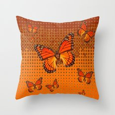 Decorative Coffee Brown-Orange Monarch Butterflies Pattern Throw Pillow