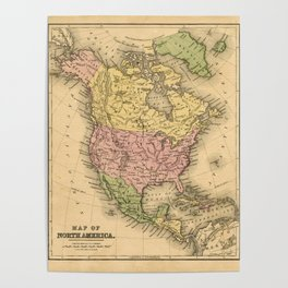 1867 Map of North America Poster