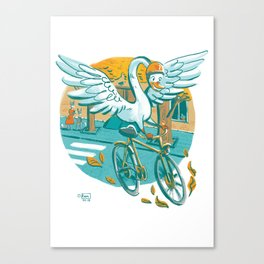 A Swan Riding Bycicle Canvas Print