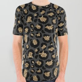 Black Gold Leopard Print Pattern All Over Graphic Tee