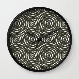 boho circle tile - olive Wall Clock