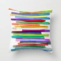 summer Throw Pillows featuring Colorful Stripes 1 by Mareike Böhmer