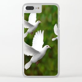 THREE CONTEMPORARY WHITE  DOVES IN GREEN Clear iPhone Case