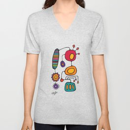 Feather Flower Chime in Color Unisex V-Neck