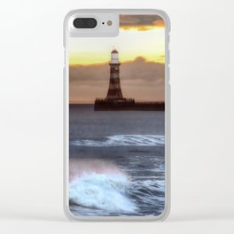 Roker pier and lighthouse sunrise Clear iPhone Case