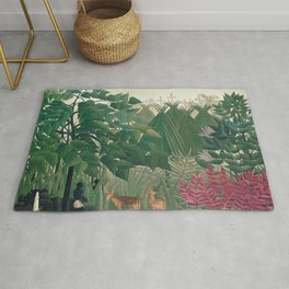 The Waterfall by Henri Rousseau 1910 // Jungle Waterfall Deer Indigenous People Flowers Plant Scene Rug